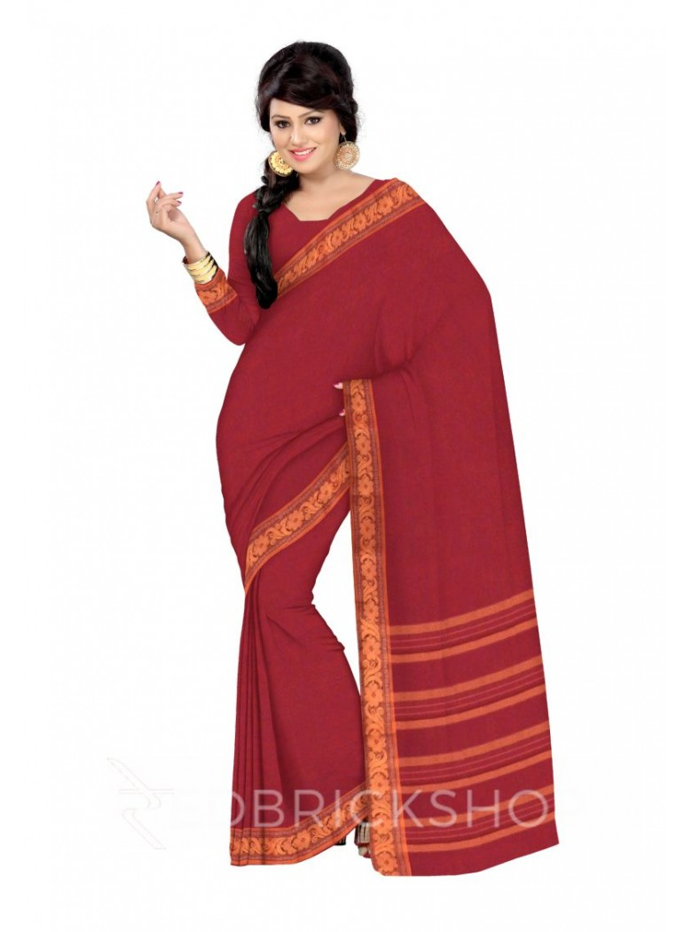 CHETTINAD PLAIN FLORAL MAROON COTTON SAREE