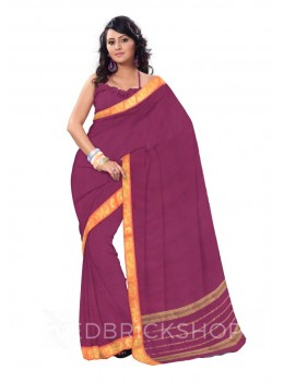 CHETTINAD PLAIN AAM DHOOP CHHAON MAGENTA COTTON SAREE