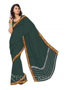 CHETTINAD PLAIN FLORAL DHOOP CHAON DARK GREEN COTTON SAREE