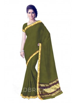 CHETTINAD PLAIN PAISLEY MEHENDI GREEN COTTON SAREE