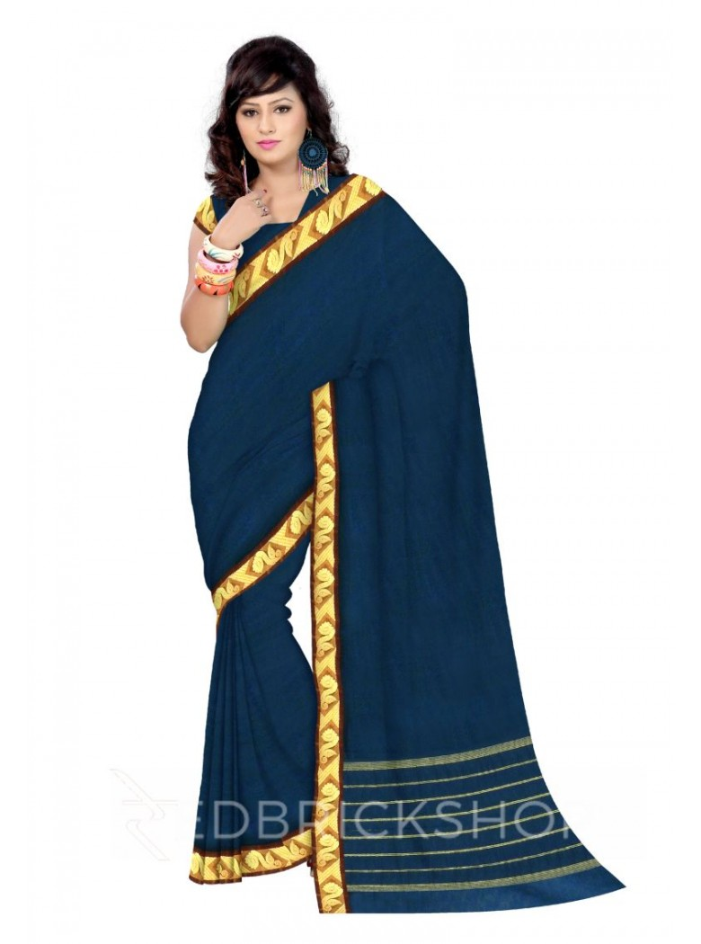 CHETTINAD PLAIN FLORAL TEAL BLUE COTTON SAREE