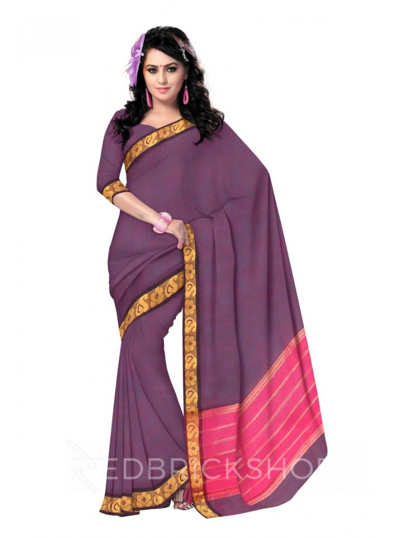 CHETTINAD PLAIN CLUB-PAISLEY DHOOP CHHAON  MAUVE COTTON SAREE