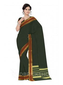 CHETTINAD PLAIN ELEPHANT BOTTLE GREEN COTTON SAREE
