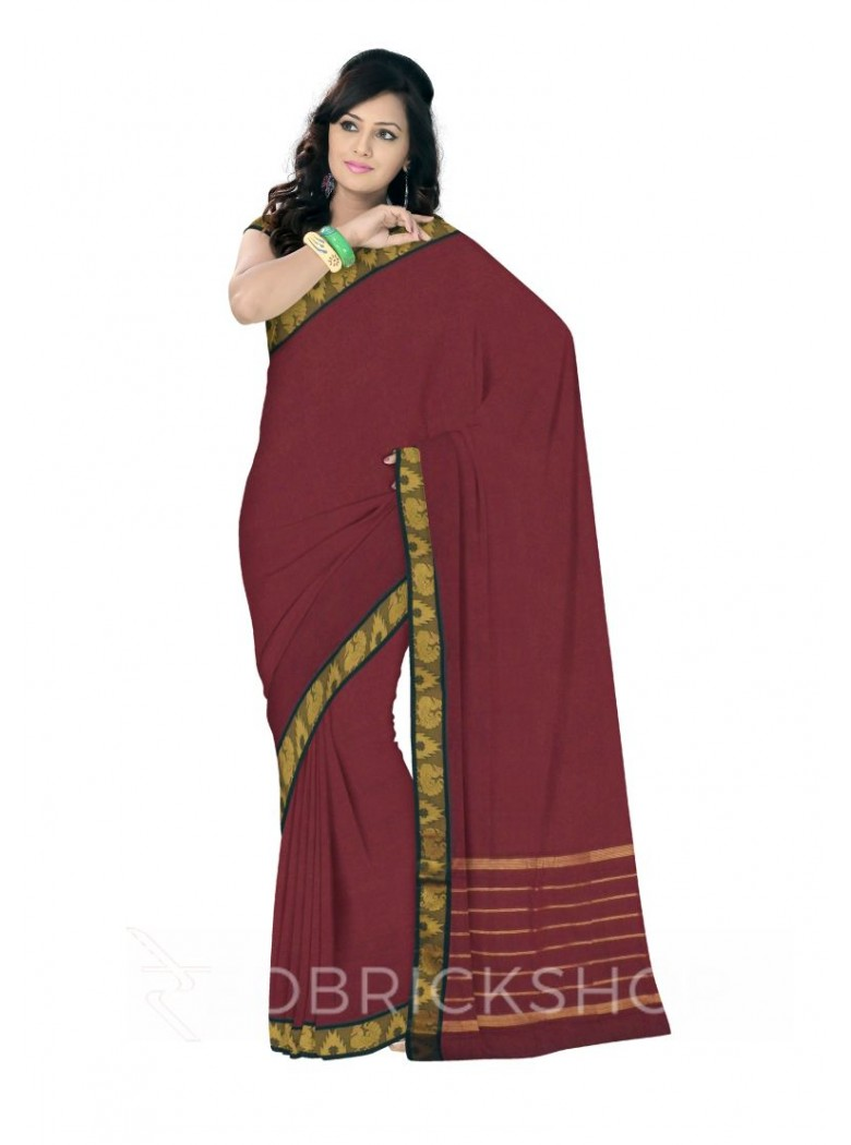 CHETTINAD PLAIN PEACOCK MAROON COTTON SAREE