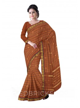 CHETTINAD CHECKS MUSTARD YELLOW, BLUE COTTON SAREE