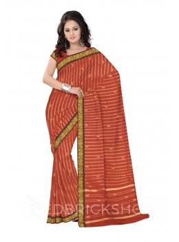 CHETTINAD CHECKS RUST, PURPLE COTTON SAREE