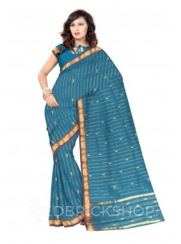 CHETTINAD CHECKS AQUAMARINE BLUE, ROSE COTTON SAREE