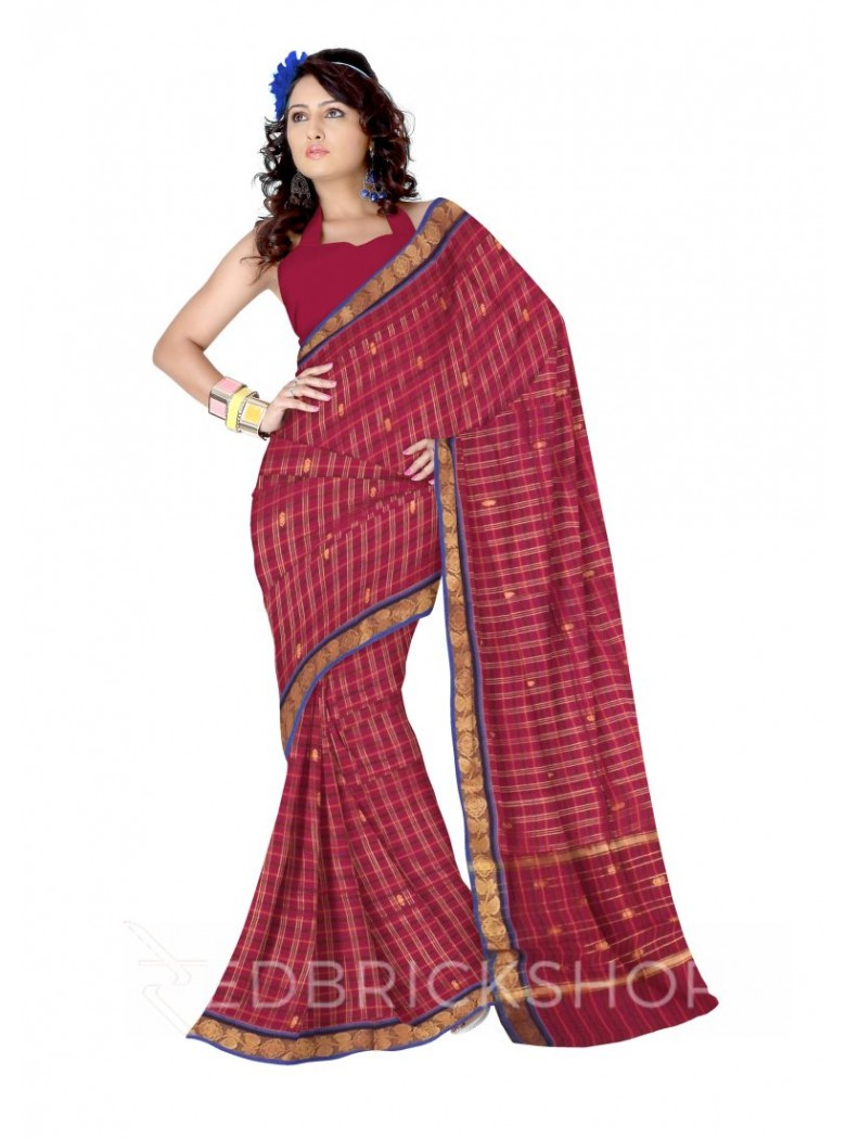 CHETTINAD CHECKS MAGENTA, MUSTARD YELLOW COTTON SAREE