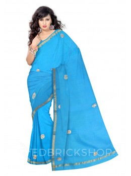 GOTA PATTI TURQUOISE COTTON KOTA SAREE