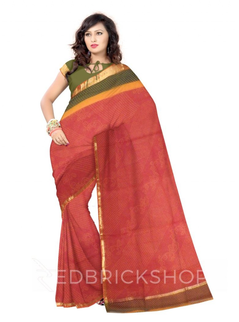 BANDHEJ LEAF RED, YELLOW, GREEN COTTON KOTA SAREE