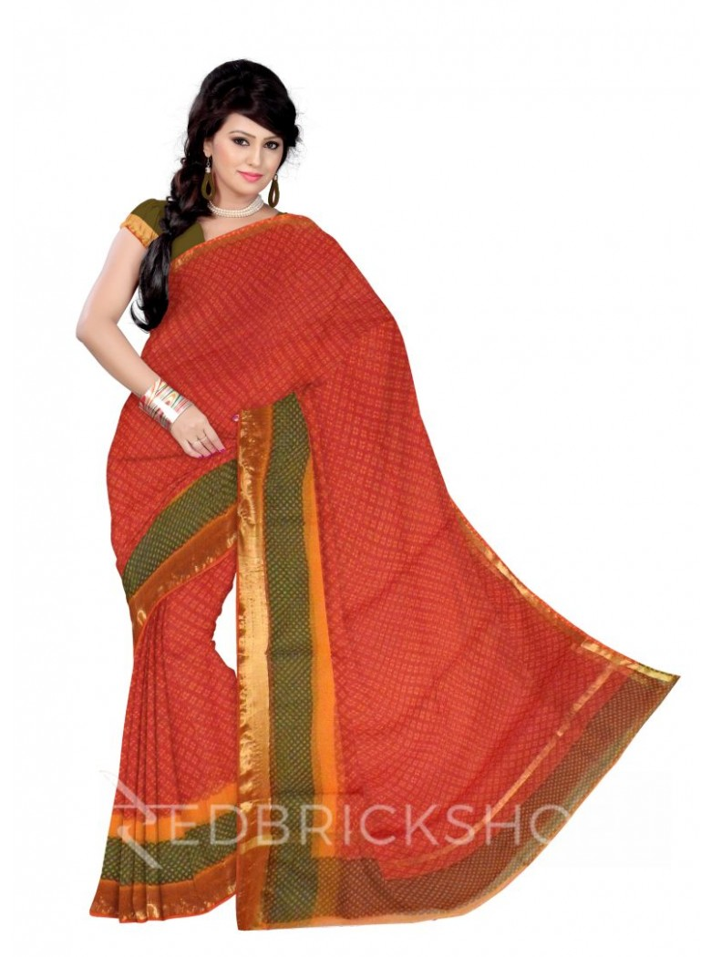 BANDHEJ BUTI RED, YELLOW, GREEN COTTON KOTA SAREE