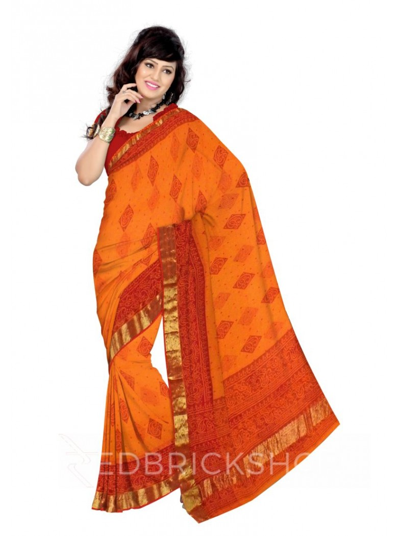 BANDHEJ DIAMOND SAFFRON COTTON KOTA SAREE