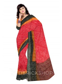 BANDHEJ PRINT RED COTTON KOTA SAREE
