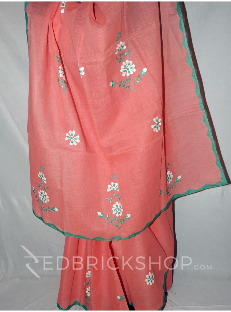 APPLIQUE FLORAL PINK, WHITE, GREEN COTTON SAREE