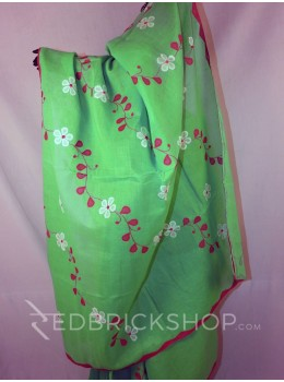 APPLIQUE FLORAL GREEN, MAGENTA, WHITE COTTON SAREE