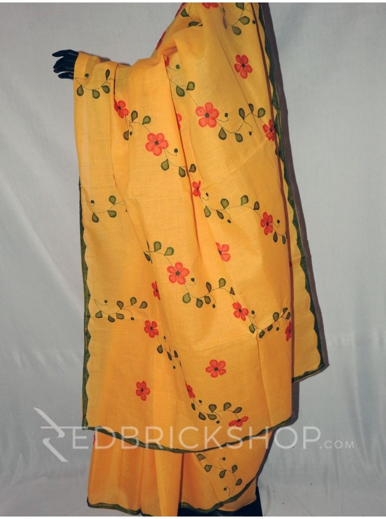 APPLIQUE FLORAL YELLOW, RED, GREEN COTTON SAREE