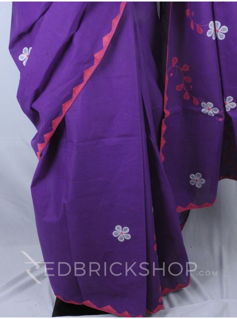 APPLIQUE FLORAL PURPLE, PINK, WHITE COTTON SAREE