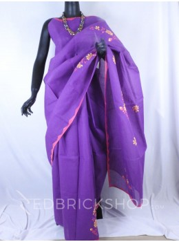 APPLIQUE FLORAL PURPLE, PINK, YELLOW COTTON SAREE