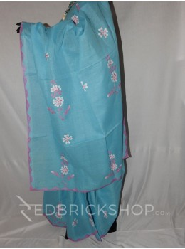 APPLIQUE FLORAL LIGHT BLUE, PINK, WHITE COTTON SAREE