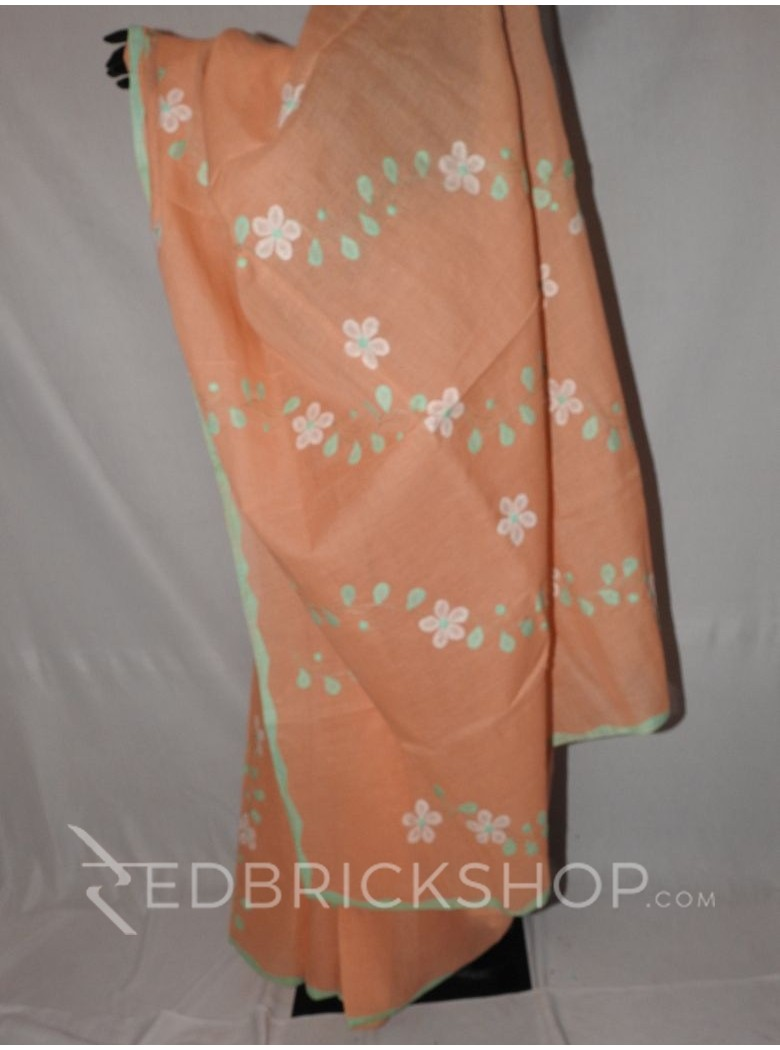 APPLIQUE FLORAL PEACH, GREEN, WHITE COTTON SAREE