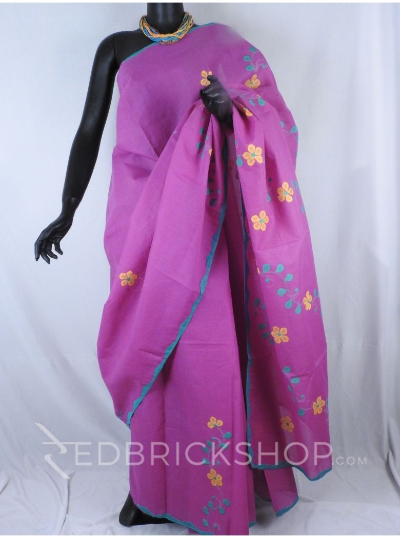 APPLIQUE FLORAL MAUVE, AQUAMARINE, MUSTARD COTTON SAREE