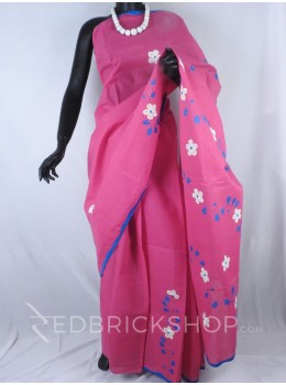 APPLIQUE FLORAL MAGENTA, BLUE, WHITE COTTON SAREE