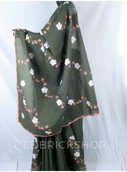 APPLIQUE FLORAL OLIVE, ROSE, WHITE COTTON SAREE