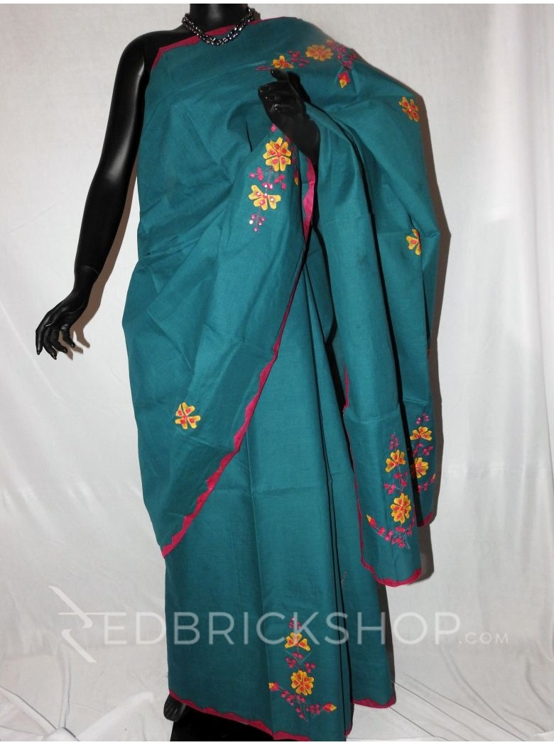 APPLIQUE FLORAL TEAL, MAGENTA, YELLOW COTTON SAREE