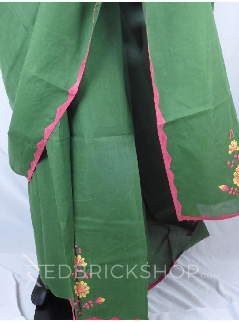 APPLIQUE FLORAL GREEN, MAGENTA, YELLOW COTTON SAREE