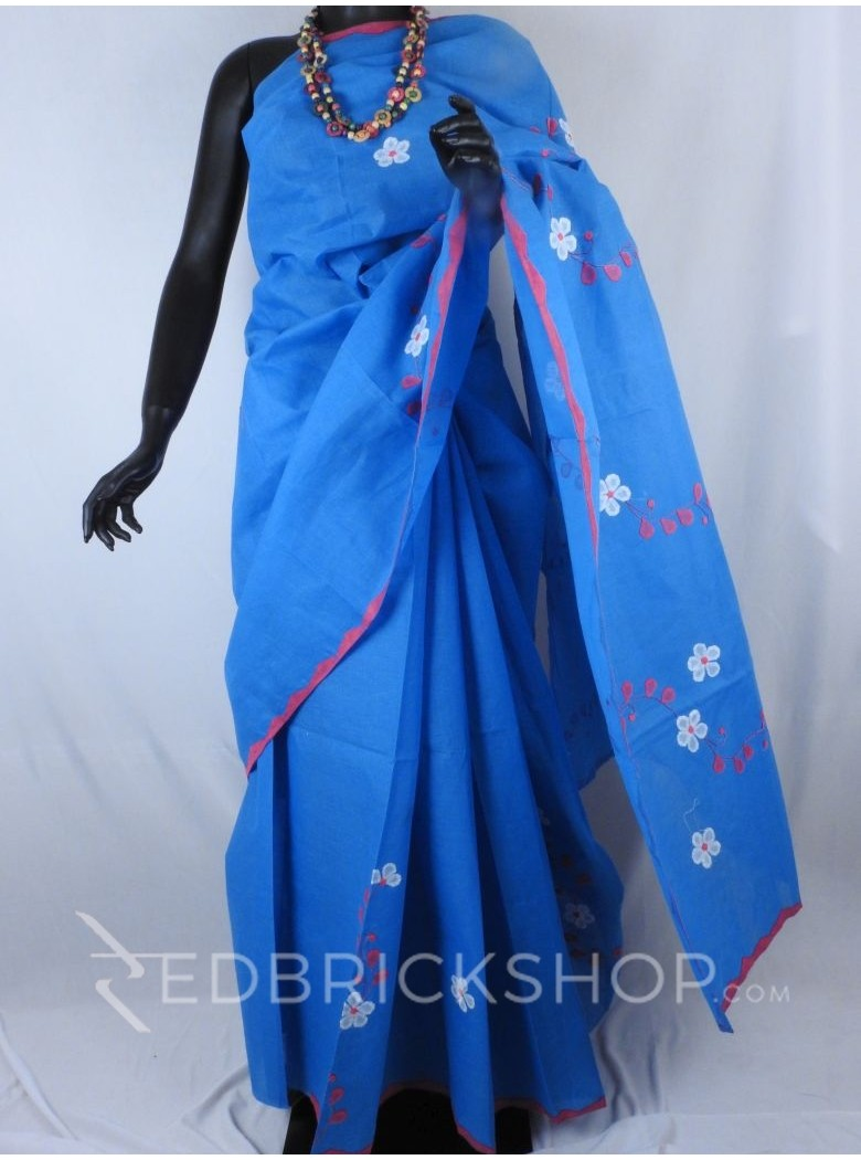 APPLIQUE FLORAL BLUE, MAGENTA, WHITE COTTON SAREE