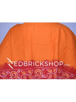 BATIK ORANGE, RED, WHITE COTTON BLOUSE PIECE