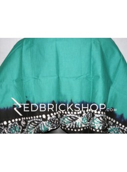 BATIK AQUAMARINE GREEN, BLACK, WHITE COTTON BLOUSE PIECE