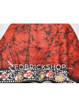 BATIK RED, BLACK, MUSTARD YELLOW, WHITE COTTON BLOUSE PIECE
