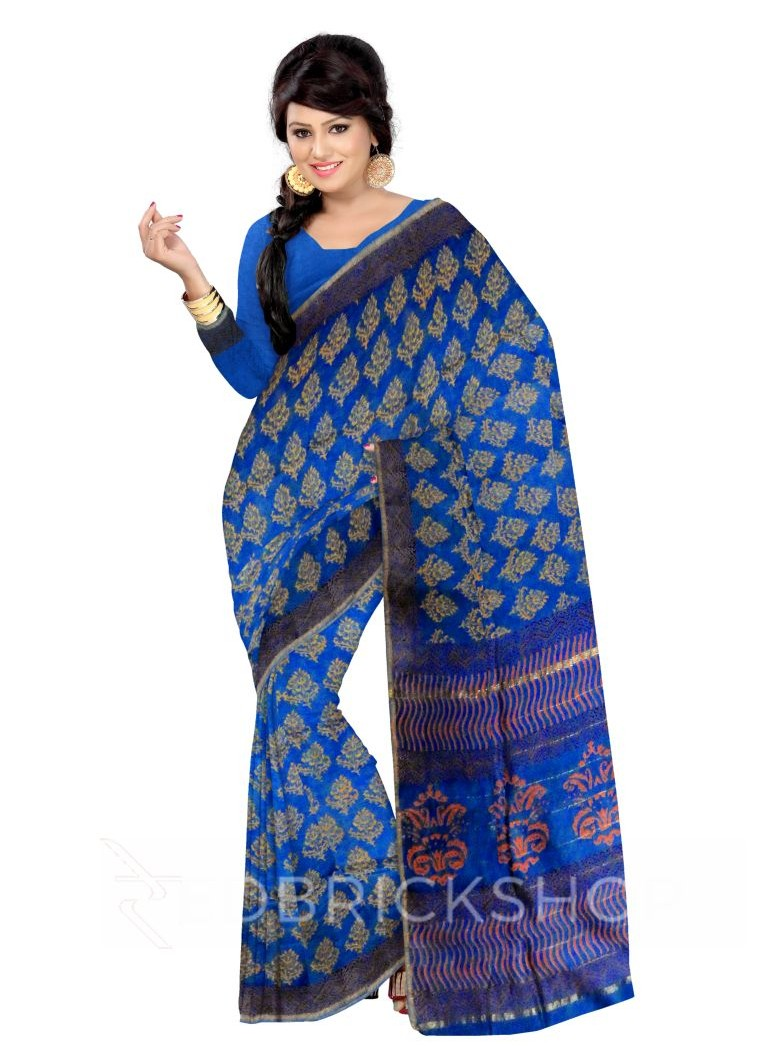 CHANDERI FLORAL BLUE-MUSTARD SAREE