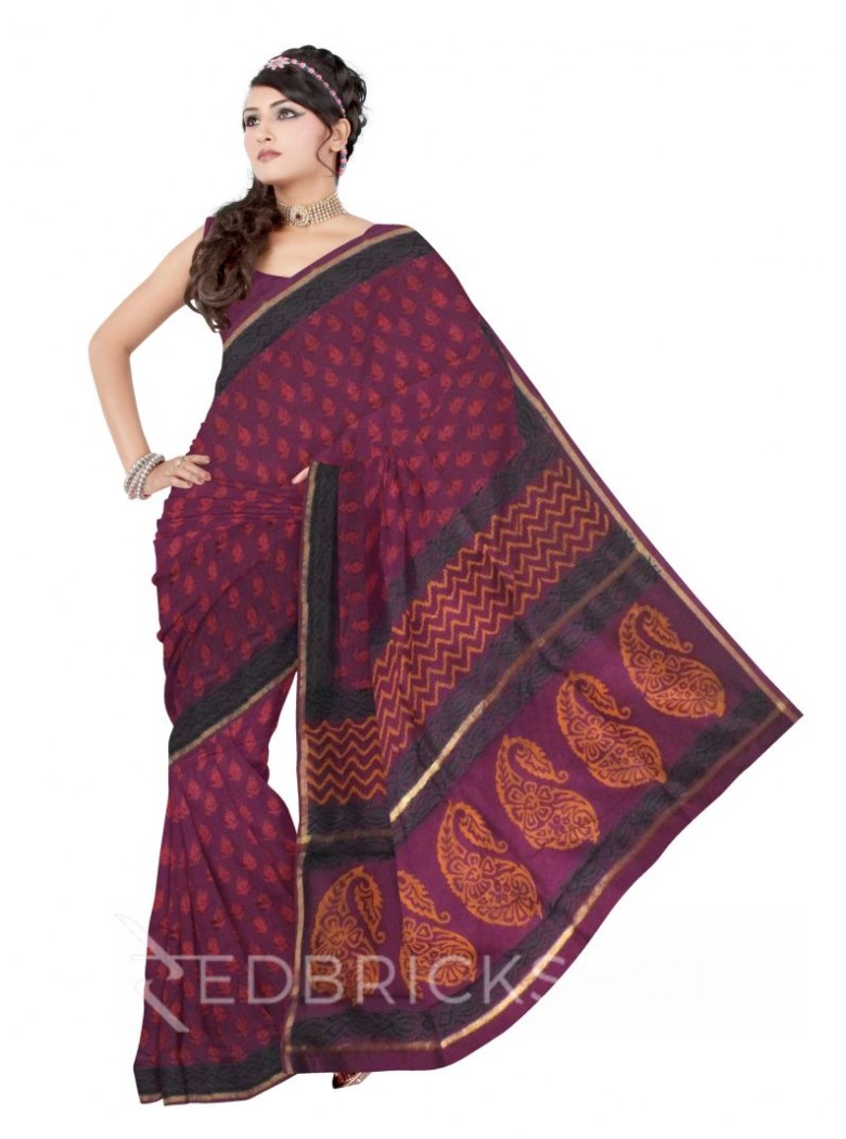 CHANDERI FLORAL PURLPLE-RED SAREE
