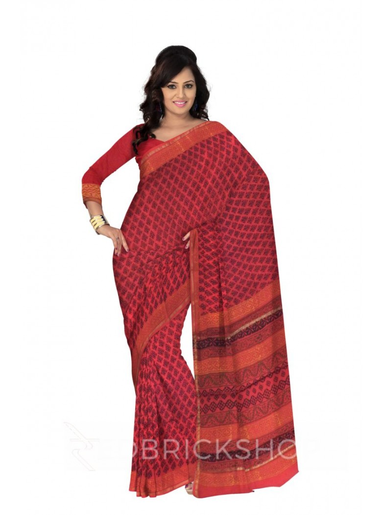 CHANDERI FLORAL RED-BLACK SAREE