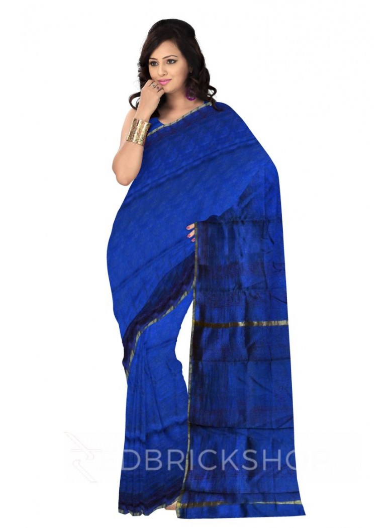 CHANDERI PAISLEY BLUE-PURPLE SAREE