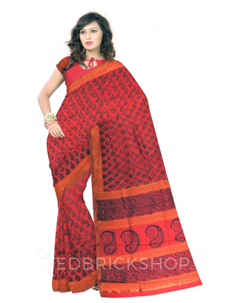 CHANDERI FLORAL RED-BOTTLE GREEN SAREE