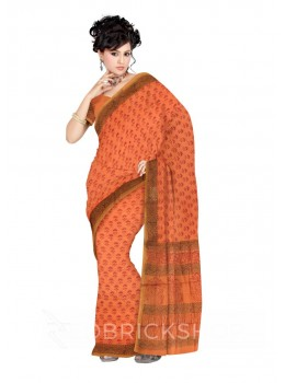 CHANDERI FLORAL MUSTARD-RED SAREE