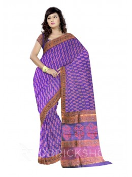 CHANDERI FLORAL MAUVE-RED SAREE