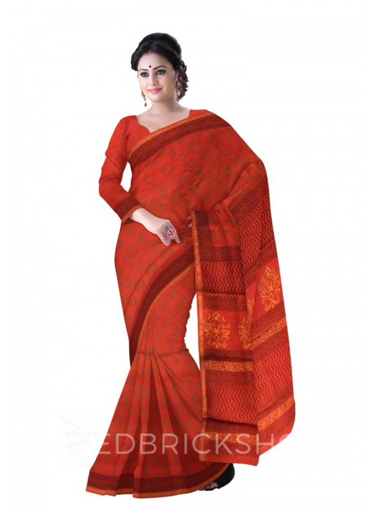 CHANDERI FLORAL RED-MEHENDI SAREE