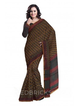 CHANDERI BEETLE GREY-MUSTARD SAREE