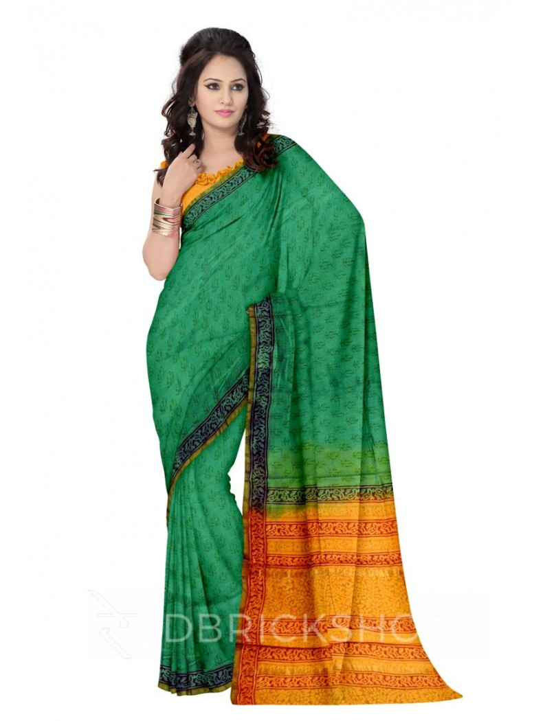 CHANDERI FLORAL GREEN-BROWN-MUSTARD SAREE