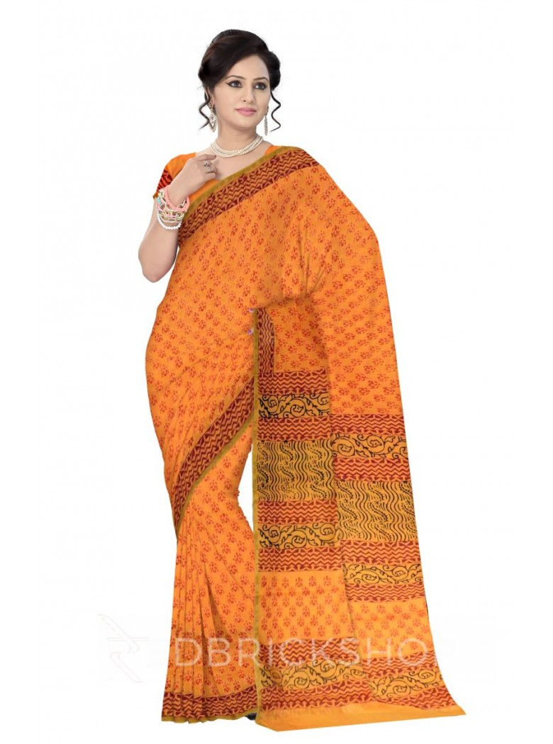 CHANDERI BEETLE MUSTARD-RED SAREE