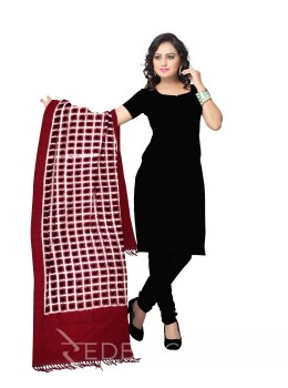 POCHAMPALLY IKKAT SQUARES MAROON, OFF-WHITE, BLACK COTTON DUPATTA