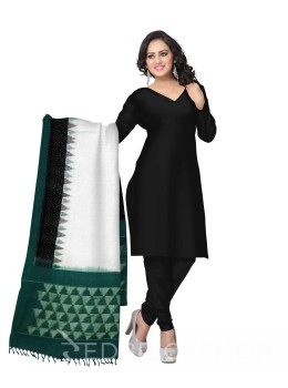 POCHAMPALLY IKKAT PLAIN TEMPLE BORDER OFF-WHITE, GREEN COTTON DUPATTA