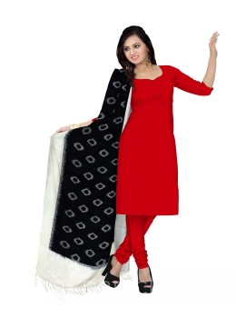 POCHAMPALLY IKKATOVAL BLACK, OFF-WHITE COTTON DUPATTA