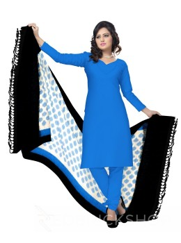POCHAMPALLY IKKAT HEXAGON STRIPE TURQUOISE BLUE, WHITE, BLACK COTTON DUPATTA