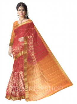 FLORAL PAISLEY FUCHSIA PINK, ORANGE, GOLD KANJEEVARAM SILK SAREE