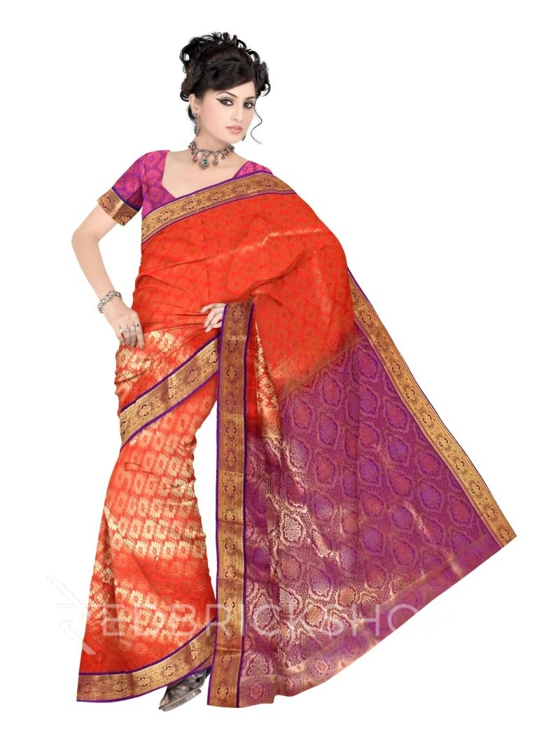 FLORAL EYE TOMATO RED, PURPLE, GOLD KANJEEVARAM SILK SAREE